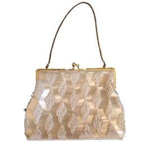 Vtg 50s HandBeaded Evening Bag Ivory Gold Hardware